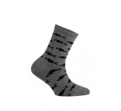 Mi-chaussettes modèle Poissons en coton