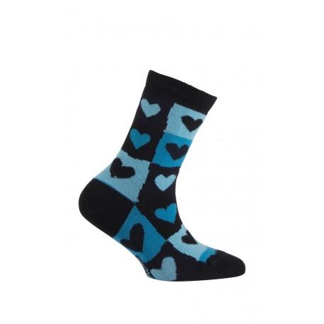 Mi-chaussettes motif cœurs modèle Darling en coton