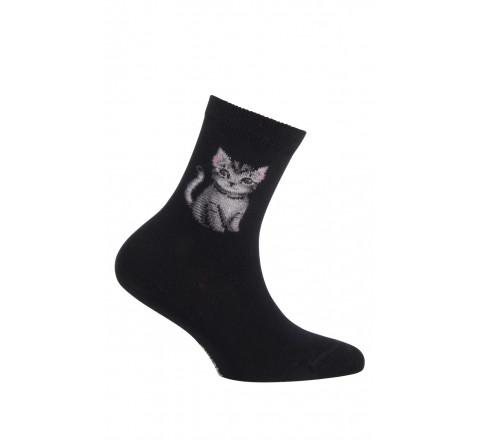 Mi-chaussettes motif chat modèle Misty en coton