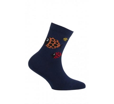 Mi-chaussettes motif poissons modèle Pacific en coton
