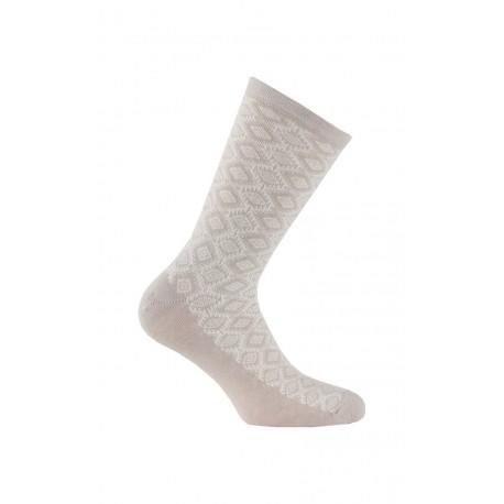 Mi-chaussettes fantaisie en viscose et laine