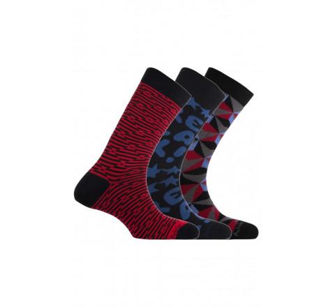 Pack de 3 paires de chaussettes fantaisies rouge/noir Achile