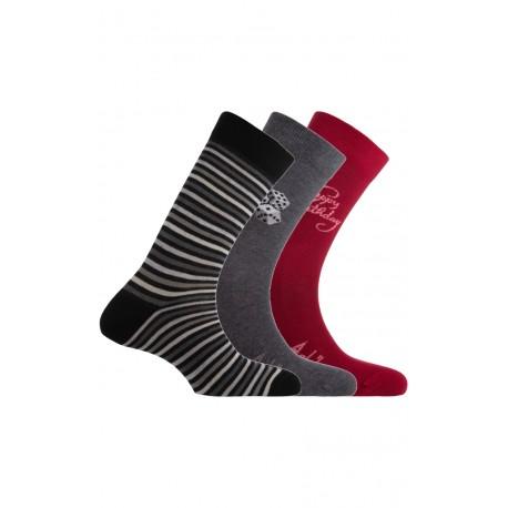 Pack de 3 paires de chaussettes fantaisies noir/gris/rouge Achile