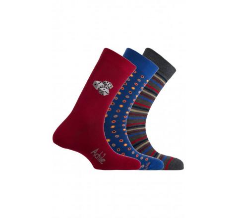 Pack de 3 paires de chaussettes fantaisies rouge/bleu/gris Achile