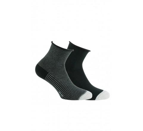 Lot de 2 paires de socquettes fantaisies fil Lurex argenté