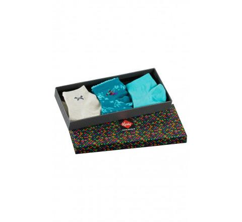 Boite cadeau 3 paires de socquettes fantaisies