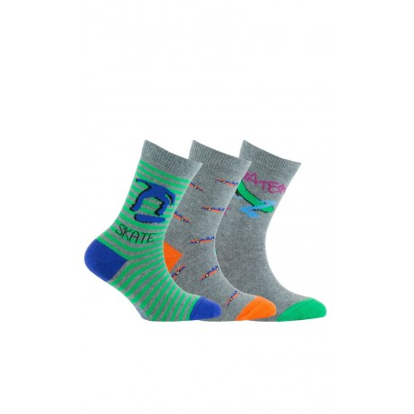 Chaussettes fantaisies en coton vendues en lot de 3 paires