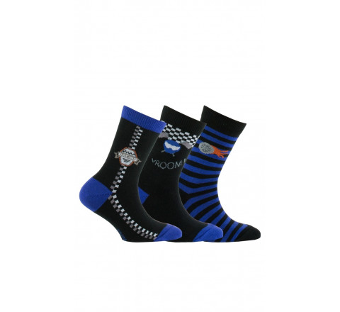 Lot de 3 paires de chaussettes thème course automobile en coton
