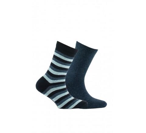 Pack de 2 paires de chaussettes fantaisies en pur coton