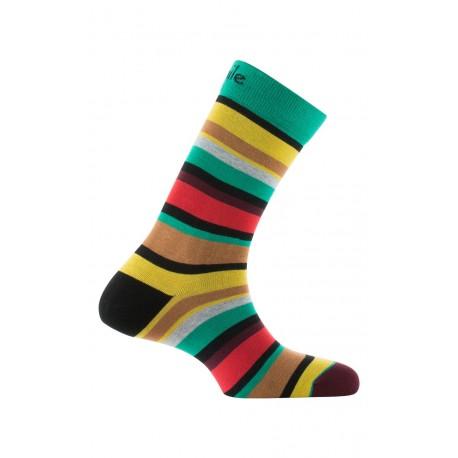 Mi-chaussettes rayées en coton
