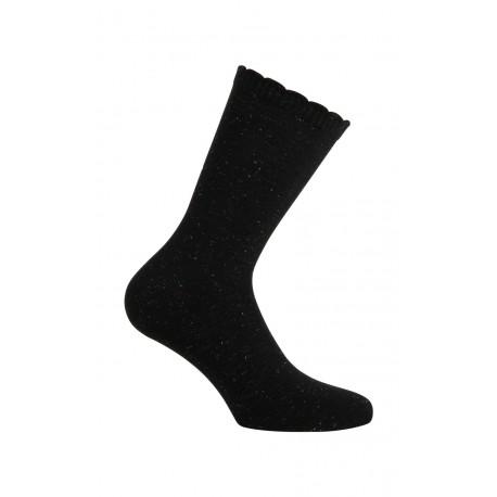 Mi-chaussettes noires avec fibres métallisées argentées