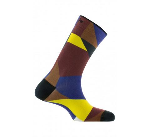 Chaussettes imprimées motif géométrique en coton