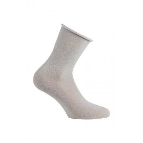 Chaussettes effet paillettes argentées