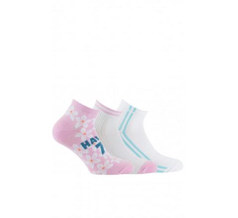 Lot de 3 paires de chaussettes ultra-courtes Hawaï en coton