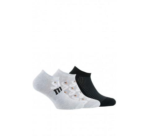 Lot de 3 paires de chaussettes invisibles Cygnes en coton