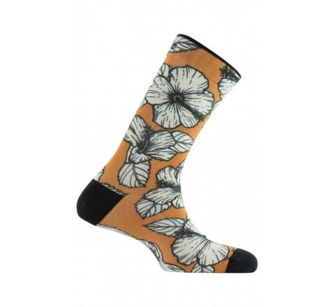 Chaussettes imprimées motif Hibiscus en coton