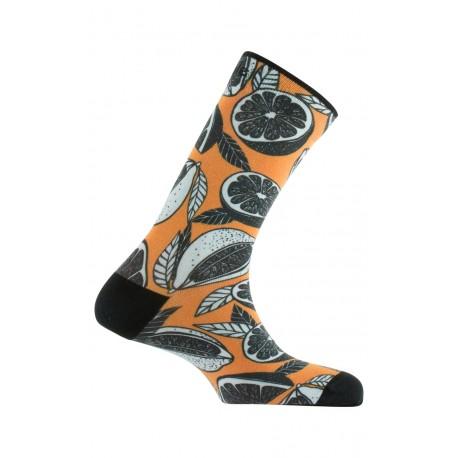 Chaussettes imprimées motif Orangeade en coton