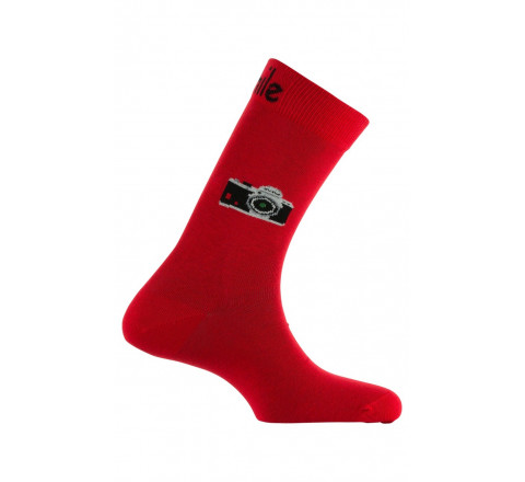 Mi-chaussettes motif Caméra coton