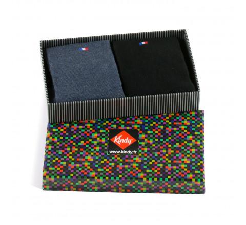 Boite cadeau 2 paires de chaussettes fabriquées en France