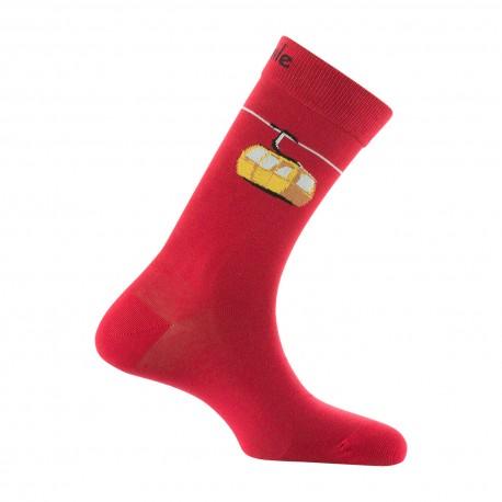 Mi-chaussettes motifs télécabine en coton