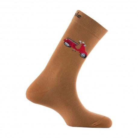Mi-chaussettes motif scooter en coton