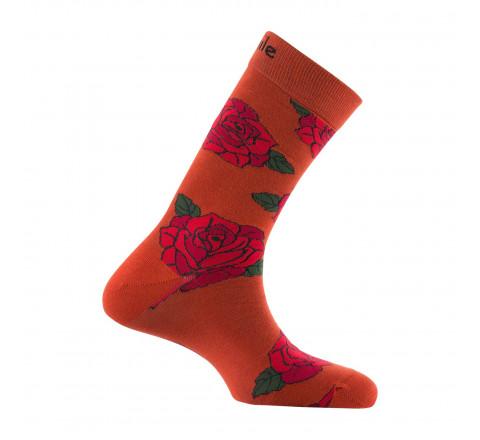 Mi-chaussettes motifs roses en coton