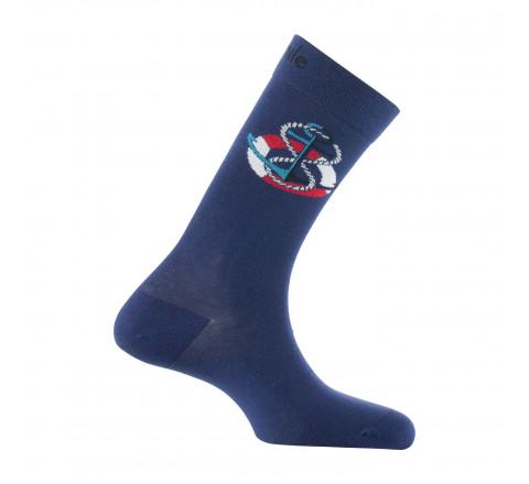 Mi-chaussettes motif Ancre en coton