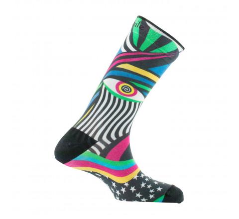 Chaussettes imprimées motif abstrait en coton