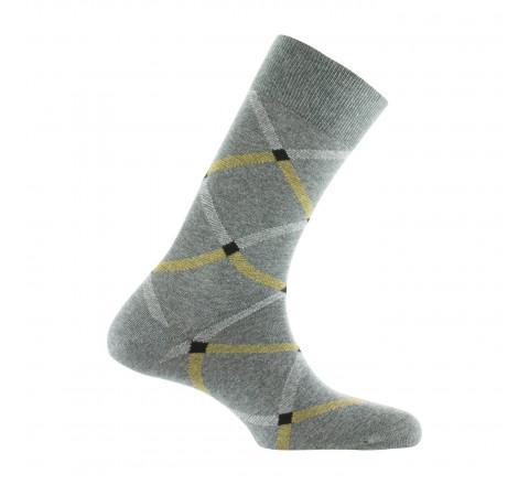 Mi-chaussettes motif écossais coton fabriquées en France