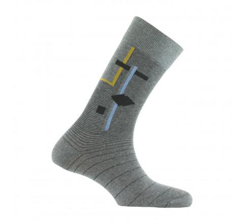 Mi-chaussettes dessin géométrique coton fabriquées en France