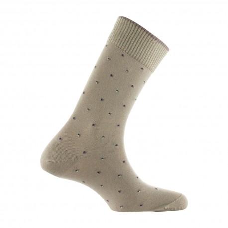 Mi-chaussettes motif plumetis coton fabriquées en France