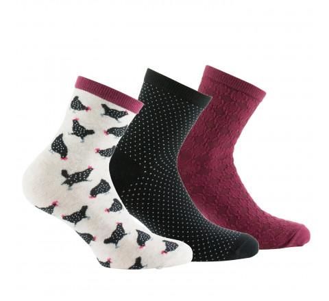 Lot de 3 paires de chaussettes courtes poules et fantaisies coton