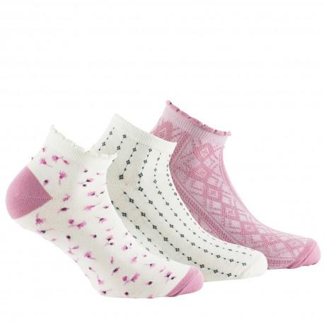 Pack de 3 paires de socquettes ultra-courtes fantaisies coton