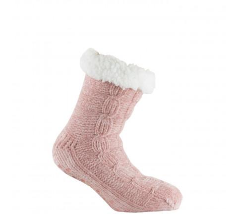 Chaussettes tricot cocooning intérieur et revers polaire