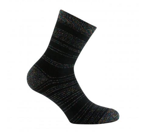 Mi-chaussettes rayures en Lurex