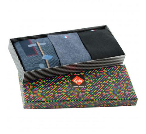 Boite cadeau 3 paires de chaussettes made in France