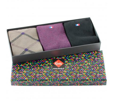 Boite cadeau 3 paires de chaussettes fabrication française