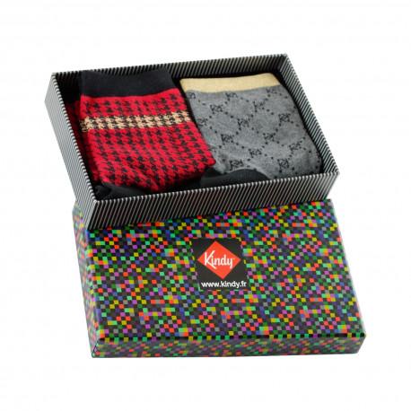 Boite cadeau 2 paires de socquettes made in France