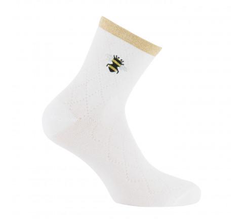Socquettes avec broderie abeille en coton