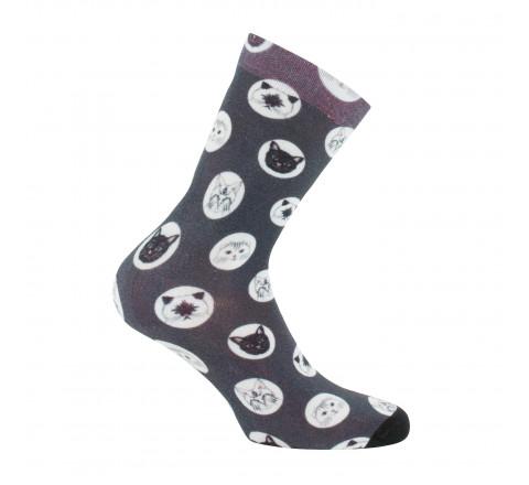 Chaussettes imprimées viscose de bambou motif chats