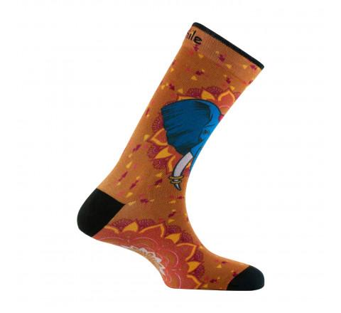 Chaussettes imprimées motifs singes de Bornéo en coton