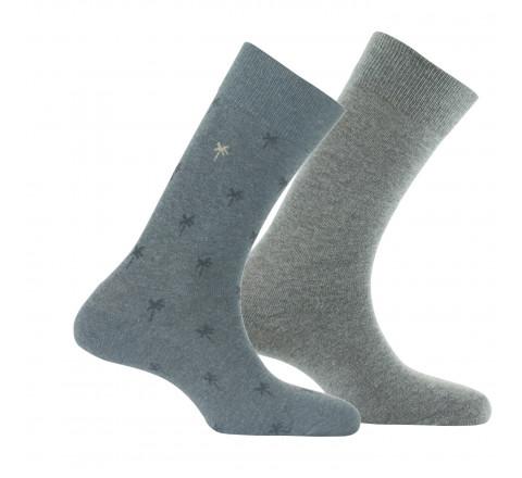 Lot de 2 paires de chaussettes palmiers + unies en coton