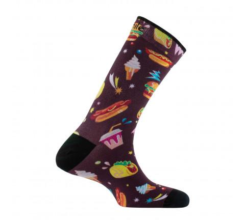 Chaussettes imprimées motif Fast-food en coton