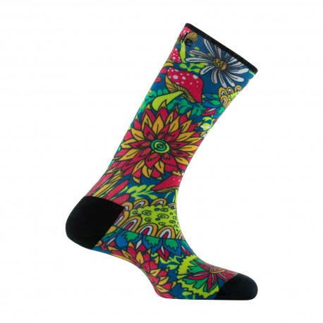 Chaussettes imprimées motifs Flower Power en coton