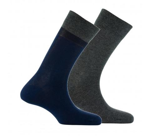 Lot de 2 paires de mi-chaussettes bicolores en coton