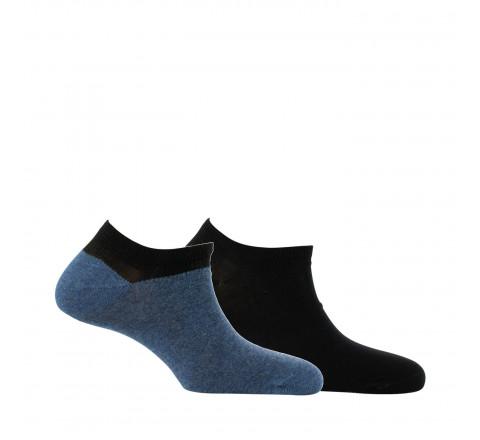 Lot de 2 paires de chaussettes ultra-courtes color block et unie