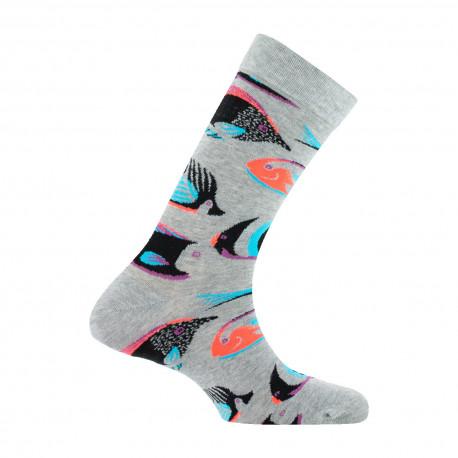 Mi-chaussettes mixtes Poissons tropicaux en coton